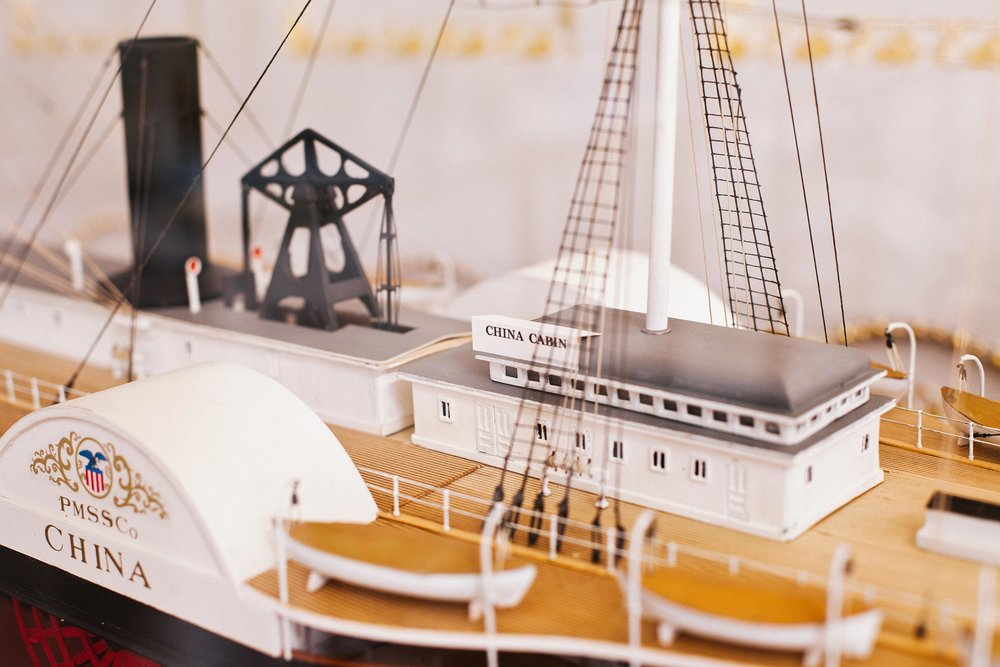 Close-up of a model of the China Cabin Social Saloon when it was on board the steamer ship.