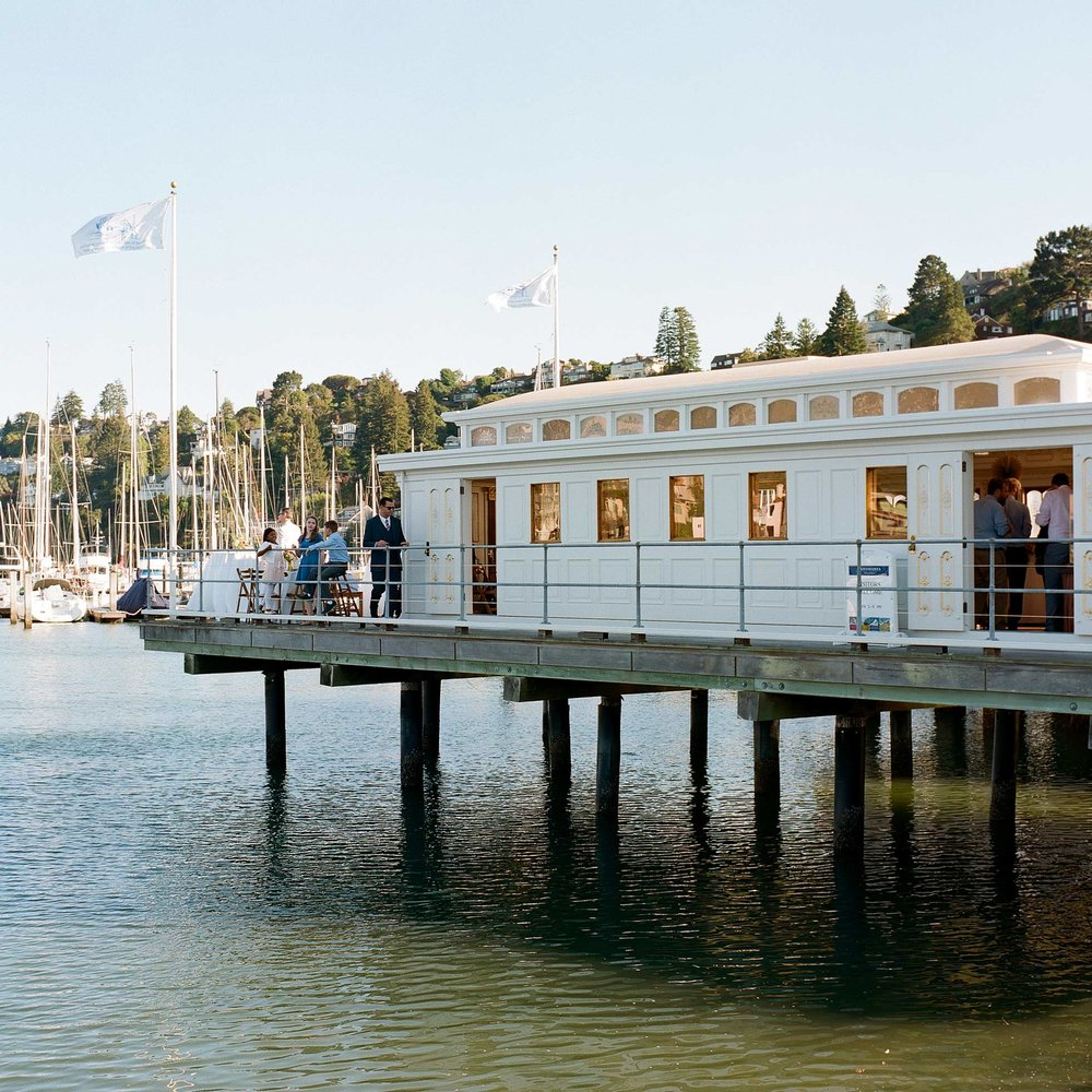 China Cabin sits right on a dock at the Tiburon harbor, and has views of the San Francisco skyline and bay.