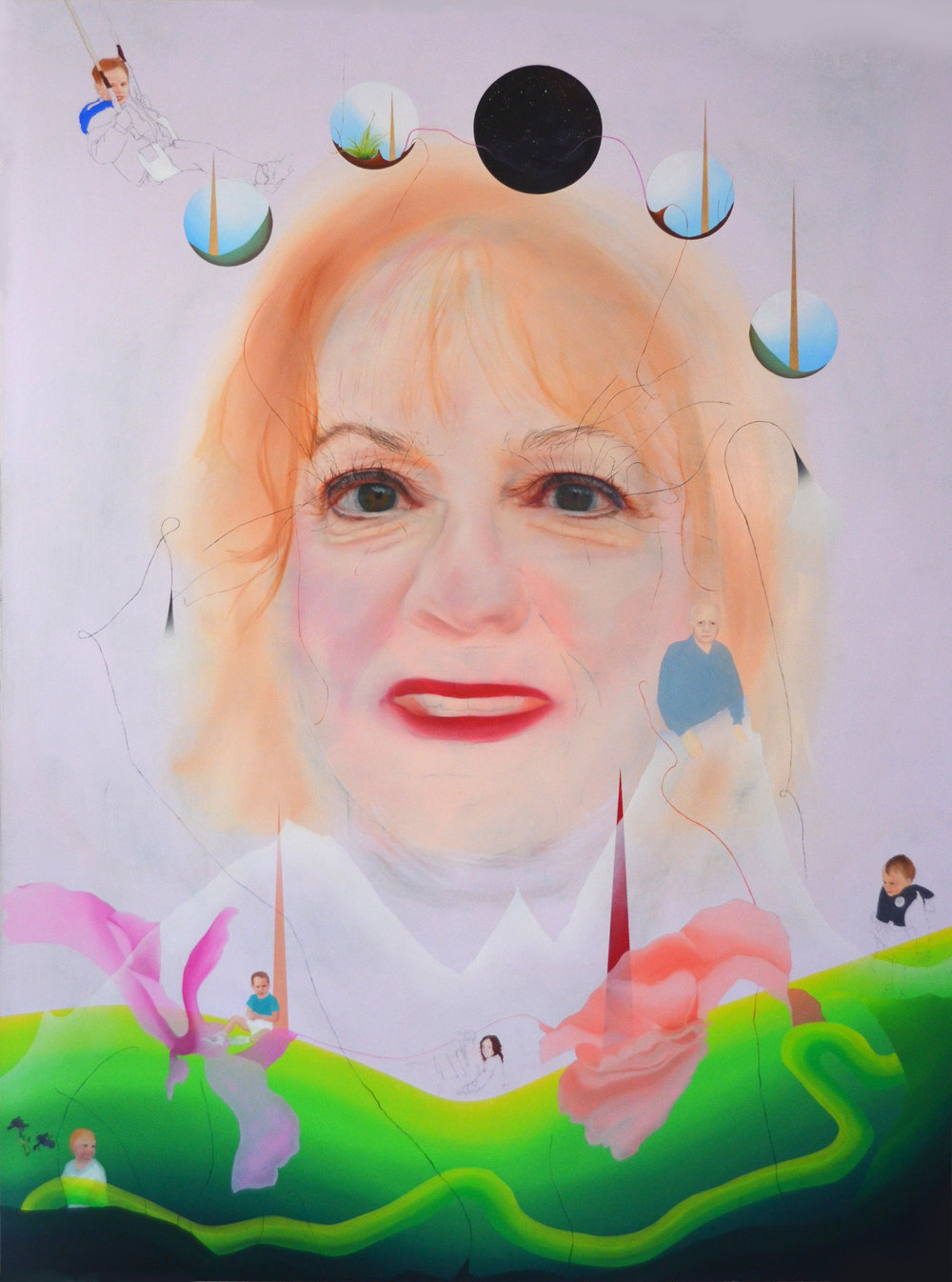 """tell janet I love her,  40"""" X 30"""", oil and pencil on panel, 2017"""