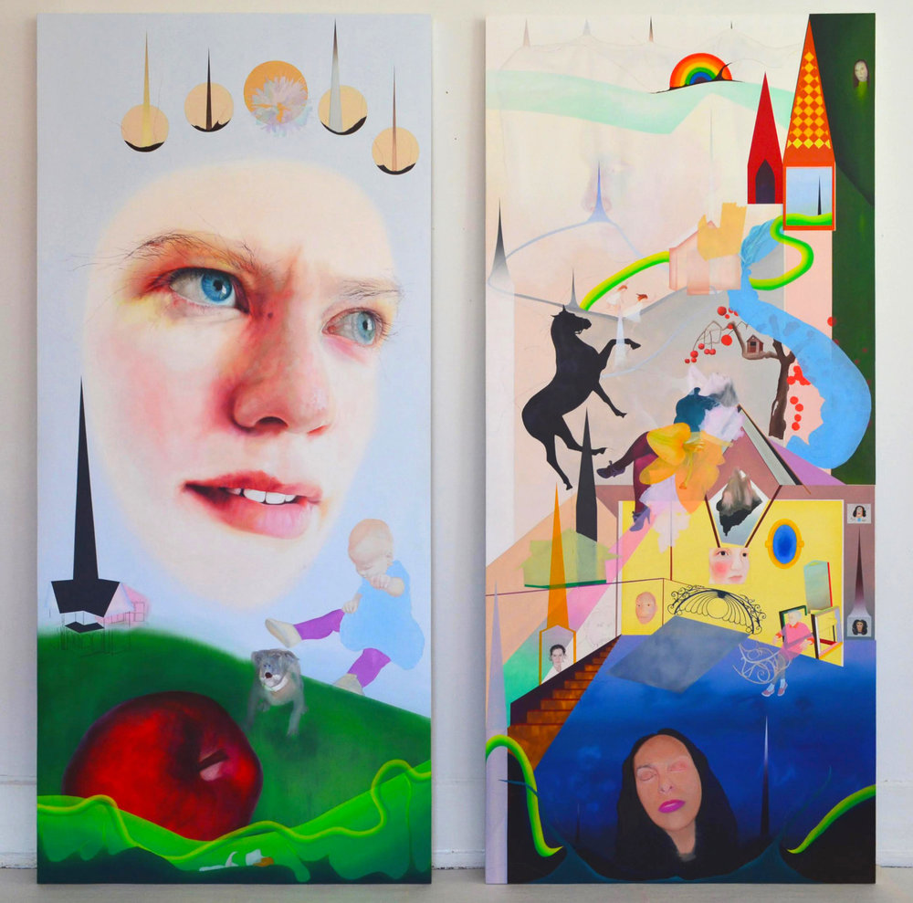 """sister , two 80"""" X 32"""" panels, oil and pencil, 2017"""