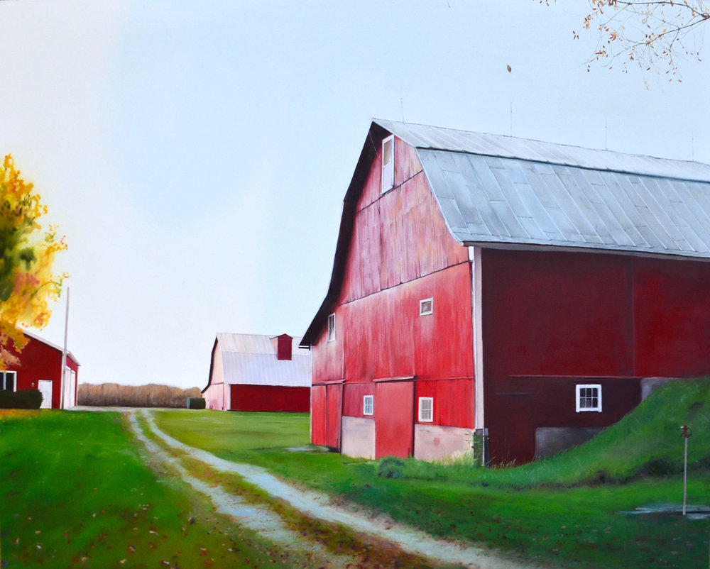 """real red barn,  16"""" X 20"""", oil on panel, 2015"""