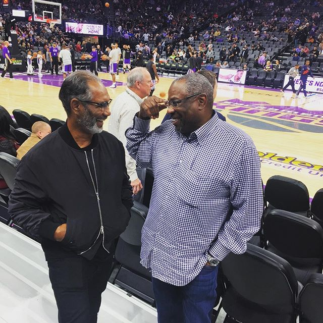 A couple Sacramento legends just chillin!!! #jerrymanuel #dustybaker