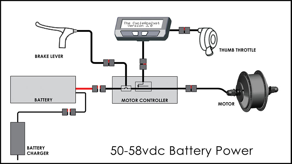 Click to enlarge: Battery Pack shown disconnected from Motor Controller
