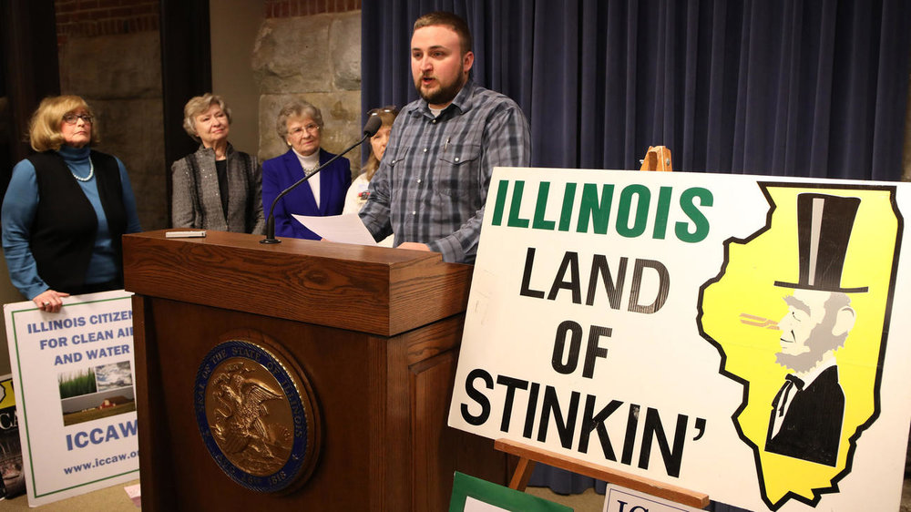 Fulton County farmer Matt Howe speaks out against hog confinements during a news conference Jan. 24, 2017, at the Capitol in Springfield. The Illinois Citizens for Clean Air & Water organized a news conference during which several residents from around Illinois spoke about the adverse effects hog and dairy confinements have had on their lives.