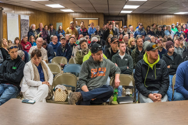 At a packed public hearing in the Forestville Town Hall the morning of March 2, modern industrial farming was repeatedly pitchforked for being a monster on the landscape