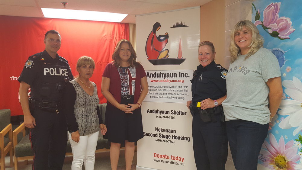 Constable Jason Rennie, Councillor Frances Nunziata, Anduhyaun Board Vice President, Deborah Graham, Constable Vicky Dawson, and Staff Sargent Lesley Hildred