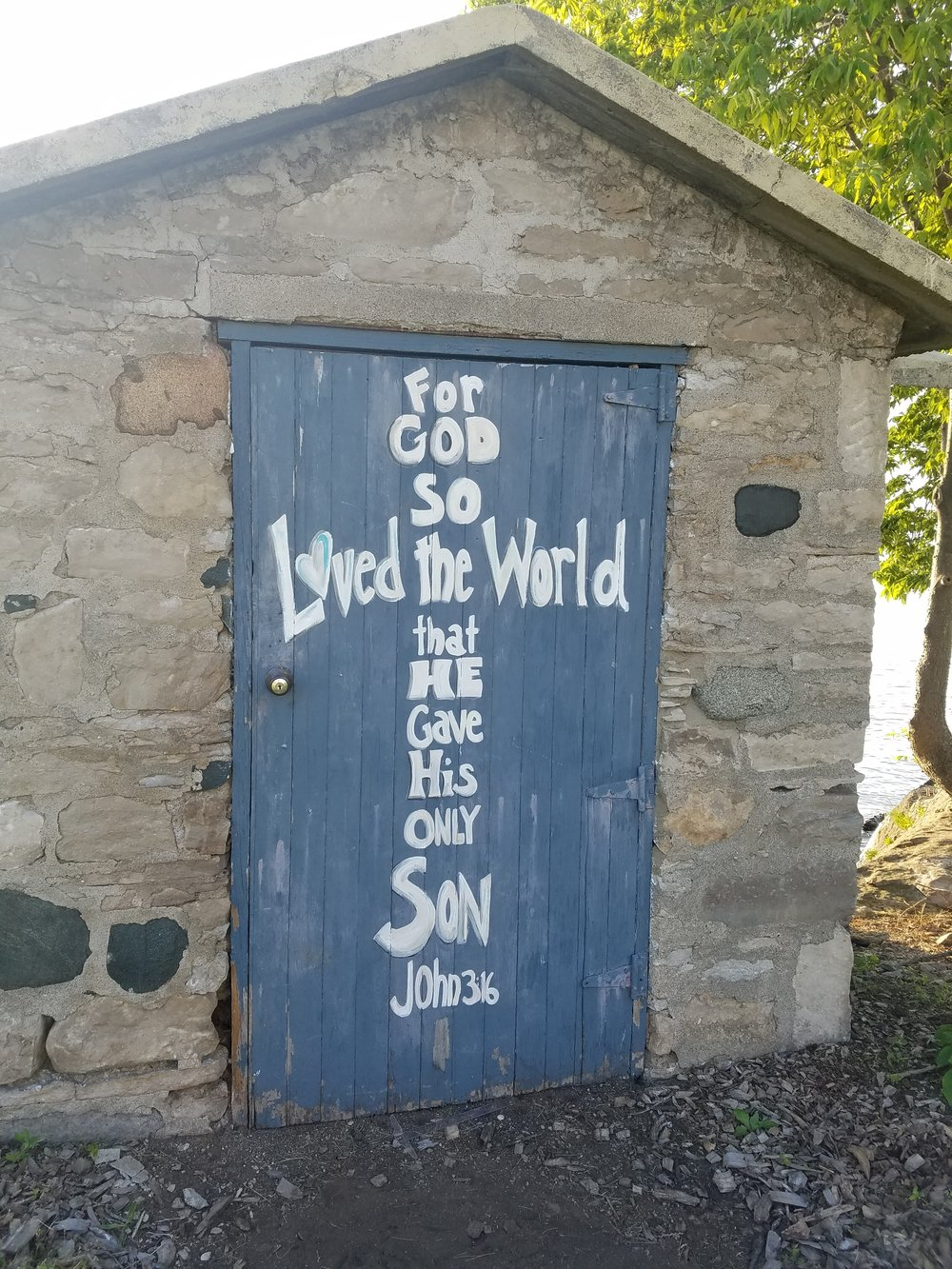 Big boat house door - John 3:16