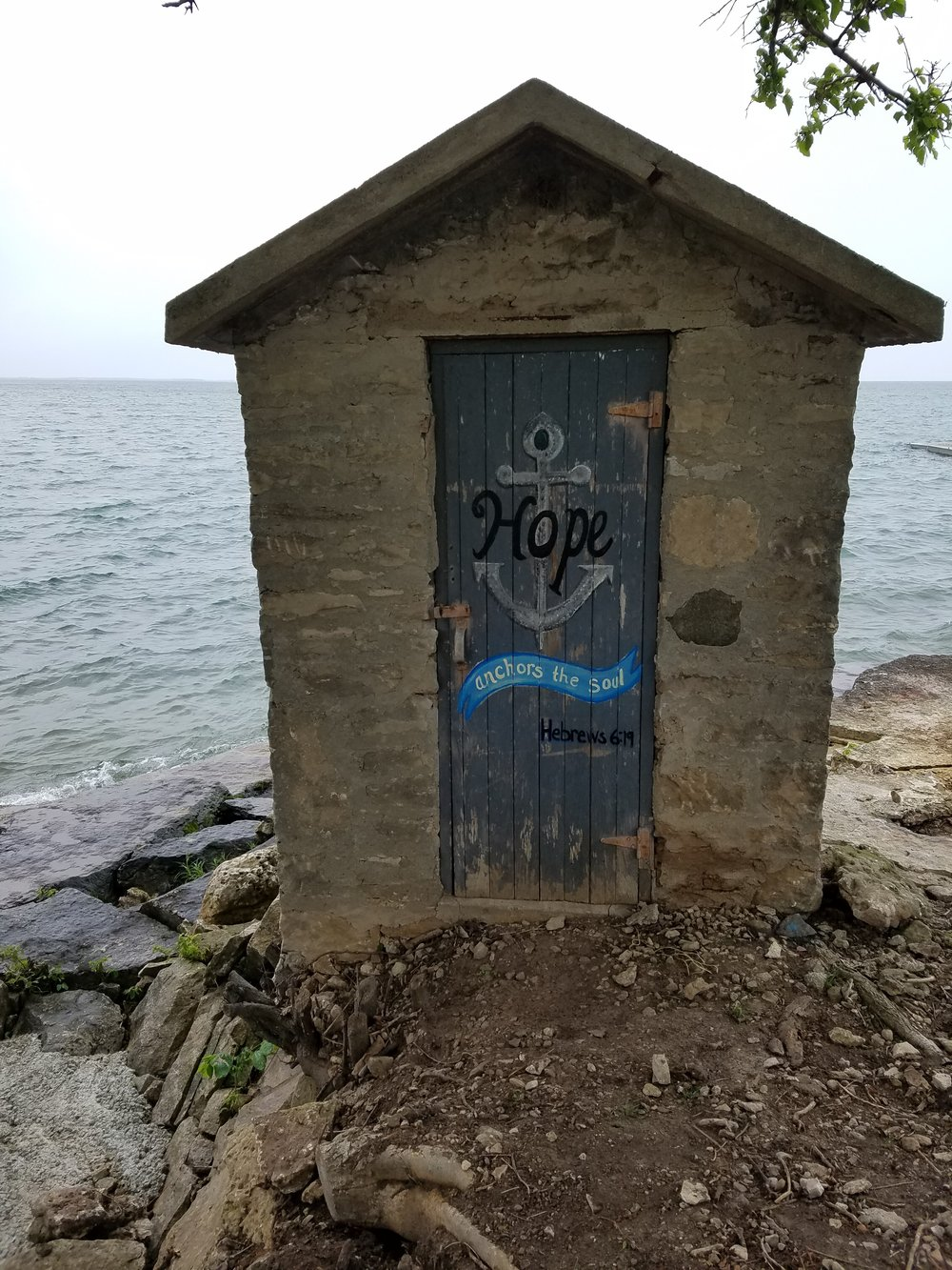 The finished door - after a revision or two. You can't see it, but the waves were crashing so much the water was hitting me as i finished up.
