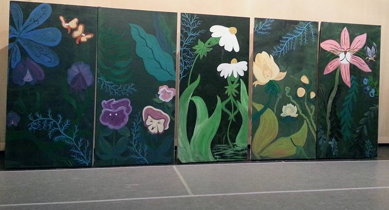 Scenic art for Alice in Wonderland - four 8 foot panels free hand painted design.