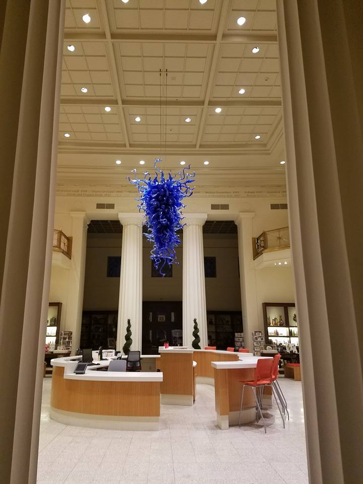 Chihuly at the front desk.