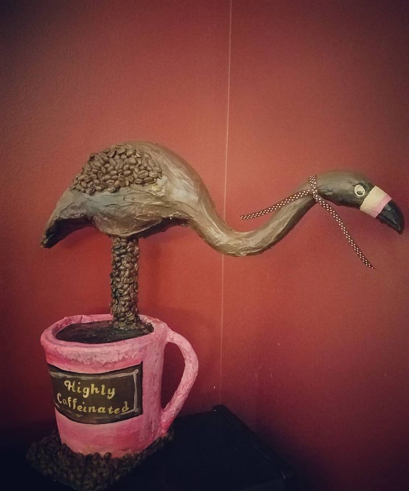 Almost forgot about this project for the City of Parma....paint a flamingo they said, make it unique they said....okay, got it. Cover it in coffee beans and set it in a paper mache mug.  This silly sculpture made it's rounds in the city and never lost it's aroma. I used a super rich chocolate flavored coffee bean. Worth every penny.   All in all it was a pretty exciting year, full of projects and productions, summer art camps, classes and everything that makes a life worth living - family, friends...  and all the things that frustrate, failures, laundry, shopping, doctor's appointments....    Welcome 2018  - let's fill this year up with more of the good and less of the bad.