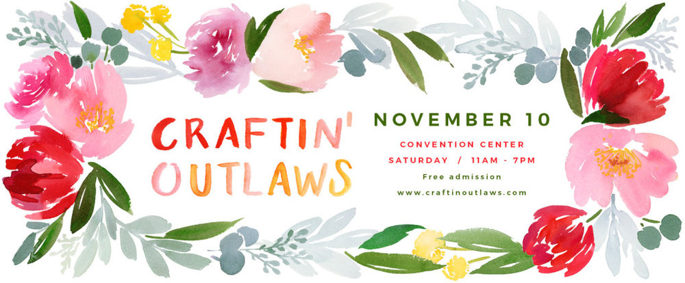 Proud to say I am a Craftin Outlaw!  My Urban Animals will be at this show ready to be adopted into your home!