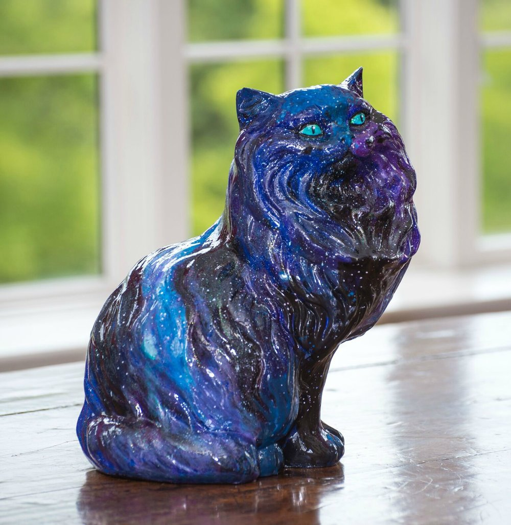 Galaxy Cat for Cincinnati's Petcasso - Painted Pets 2017  (click to follow to Painted Pets Website   DISPLAY LOCATION:     Cockerill   2700 Erie, Hyde Park Square    SOLD