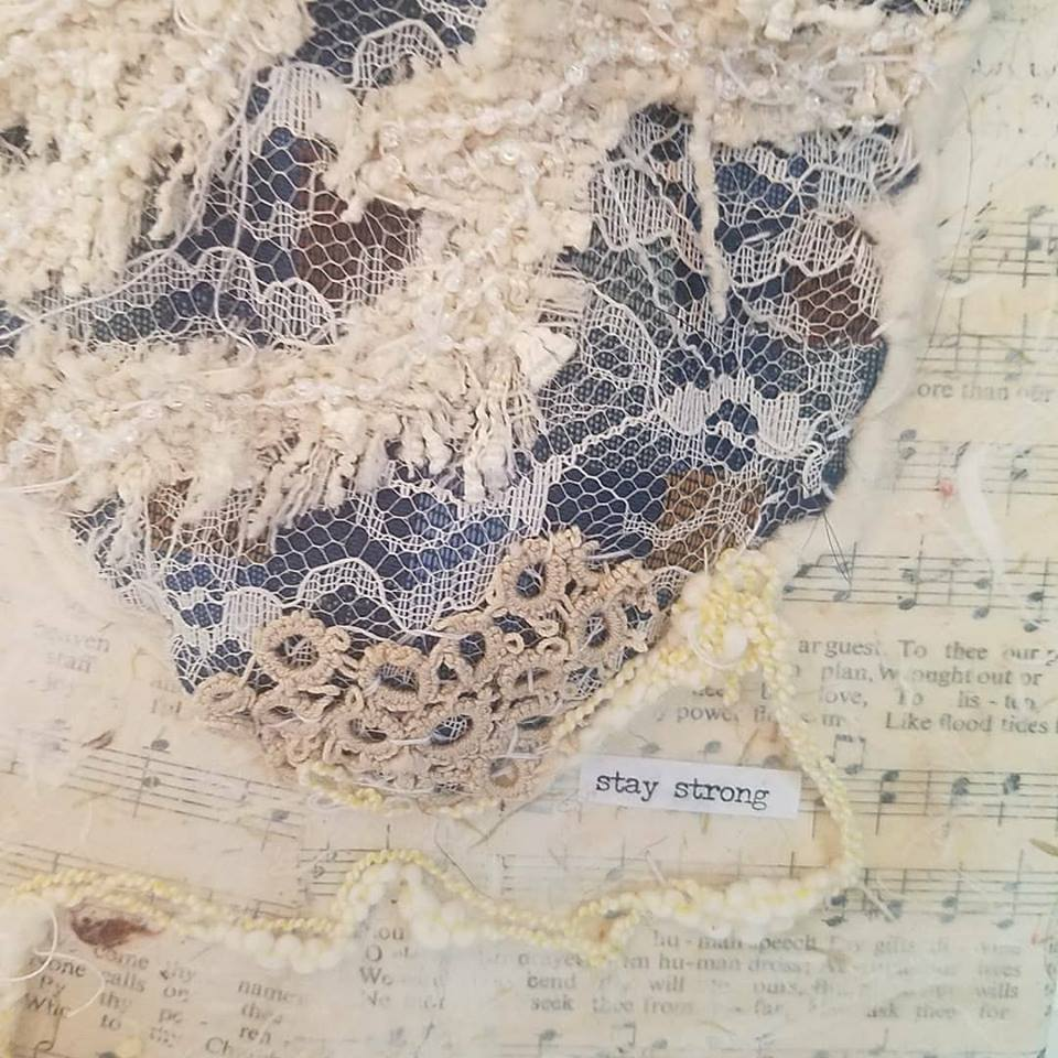 Textile art heart - Stay Strong