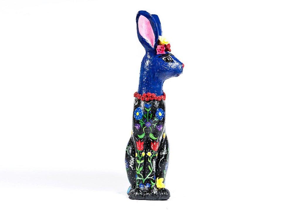 Frida Rabbit for Cincinnati's Petasso - Painted Pets 2018   DISPLAY LOCATION     indigenous   1609 Madison Road Cincinnati, Ohio 45206  SOLD