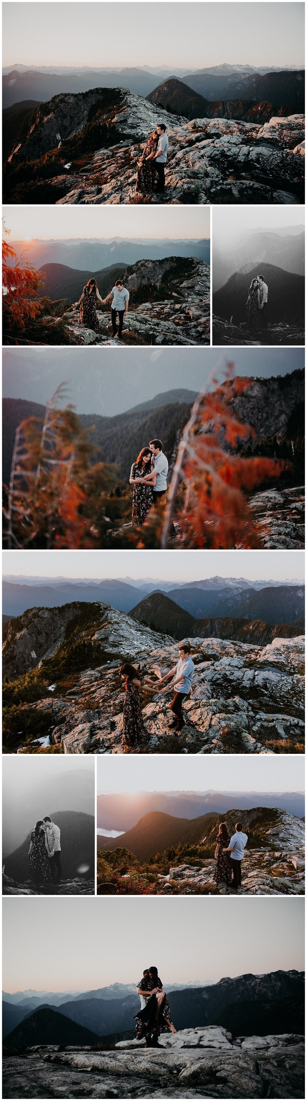 Sunset mountain top engagement session Vancouver bc grouse