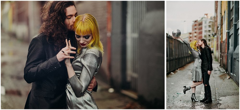 Vancouver gastown engagement couples session disco ball trendy women yellow hair metallic dress curly fashionable long hair man glamour modern back alley holding hands embrace kiss