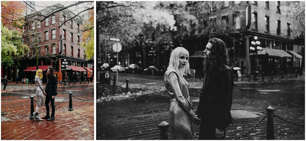 gastown engagement couple session Vancouver fall colours glamour red brick black and white forefront focus