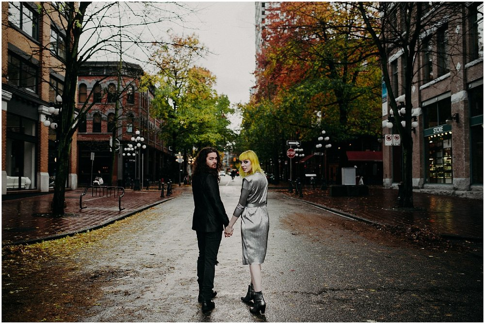 gastown fall grunge couple engagement session