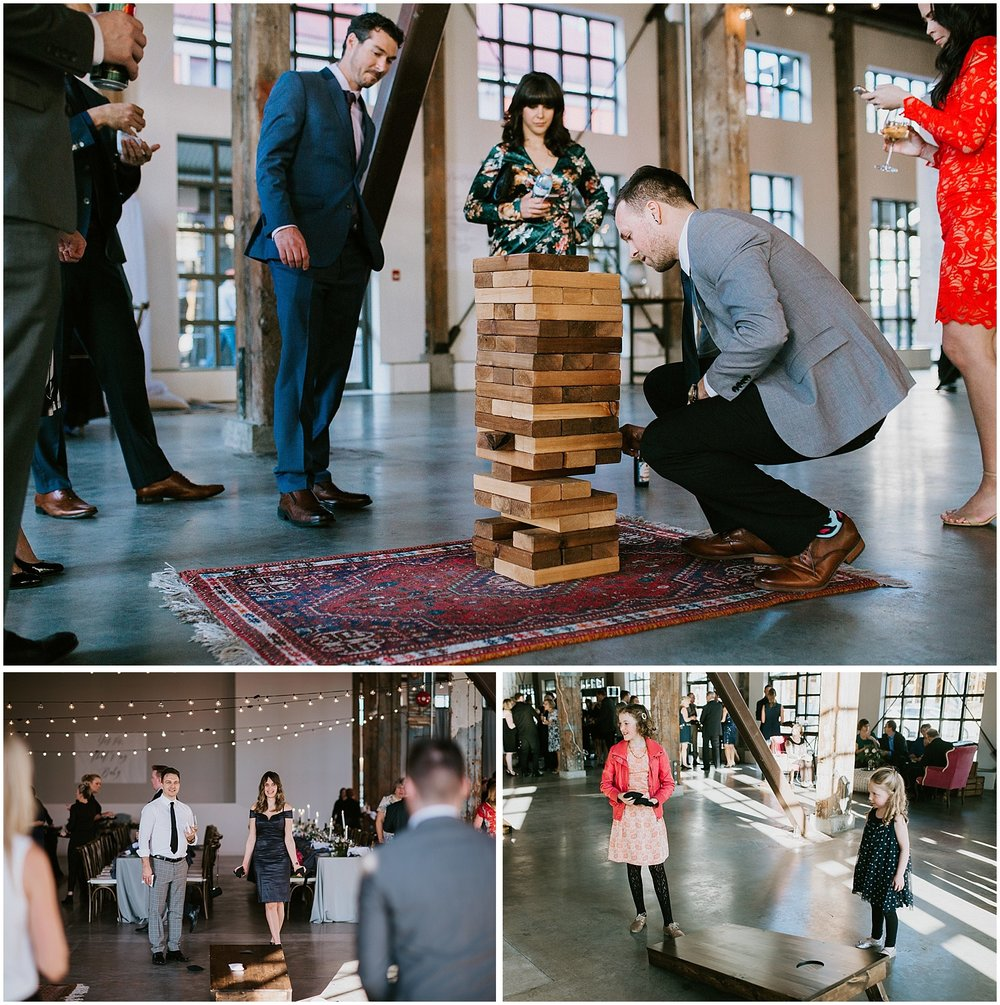 wedding games jenga bean bag toss pipe shop venue vancouver wedding stacie carr photography