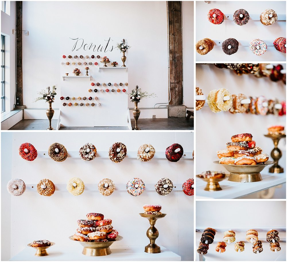 north vancouver intimate wedding decor pipe shop venue donut wall harmony donut shop by stacie carr photography