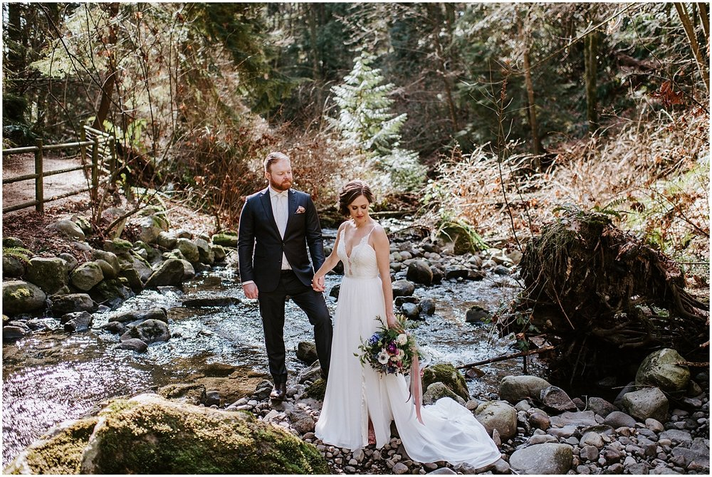 north vancouver wedding portraits intimate wedding party vancouver elopement by stacie carr photography creek bed photos