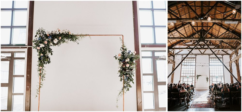 brass pipe wedding arch florals ceremony wedding decor diy bride unique greenery boho chic north vancouver intimate wedding stacie carr photography pipe shop venue