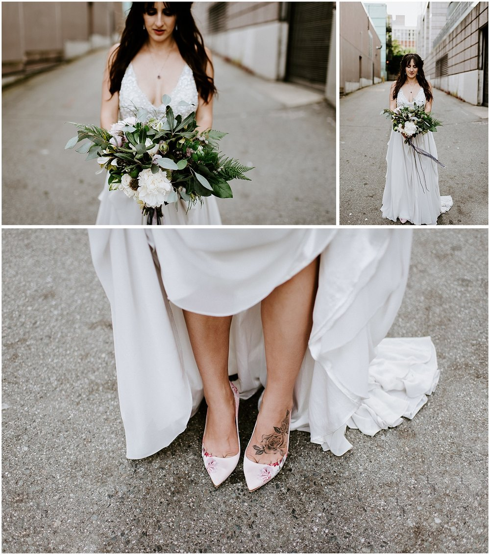 urban bridal portraits in downtown vancouver back alley