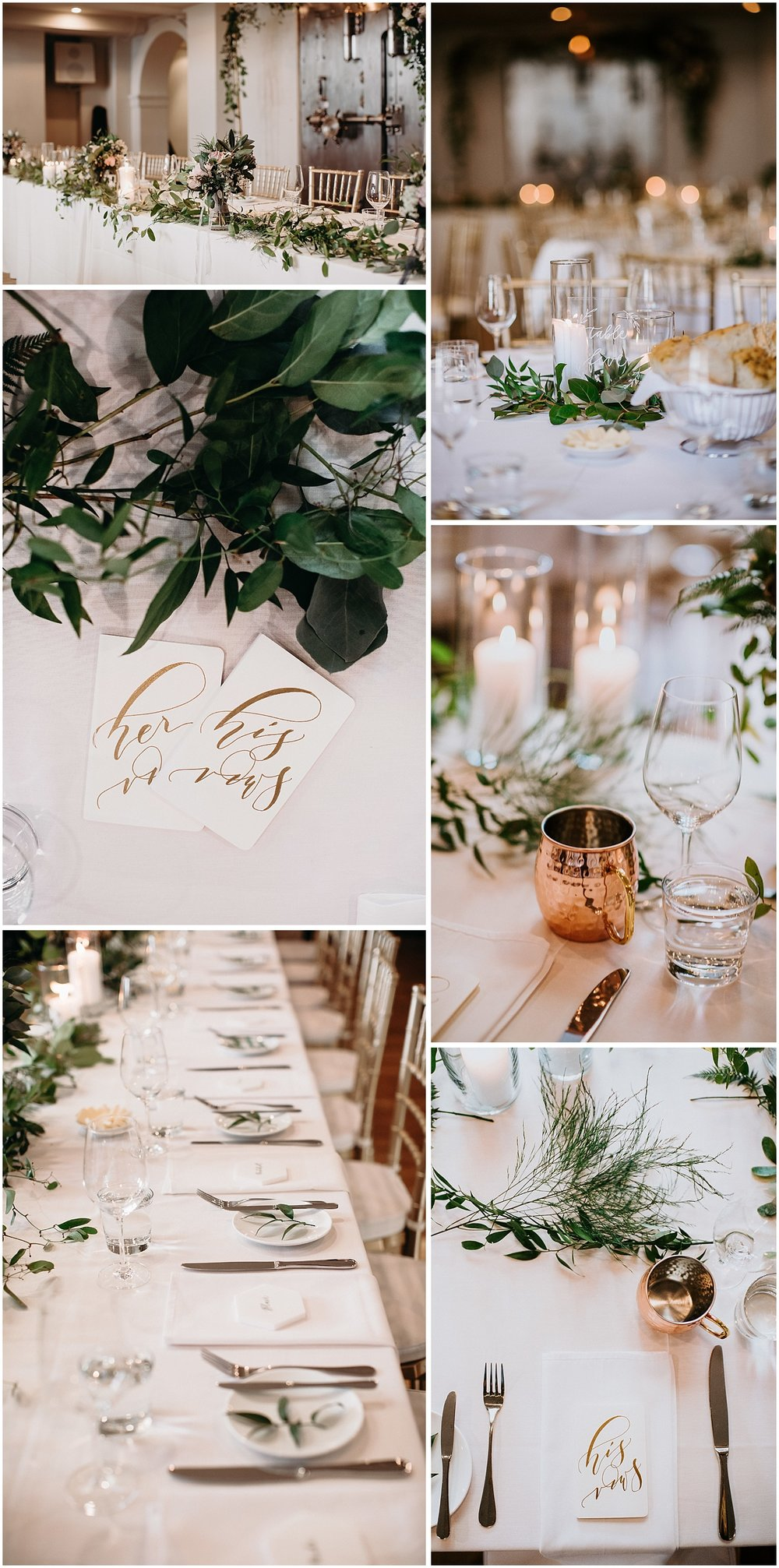 The Permanent rustic chic wedding reception details with gold accents