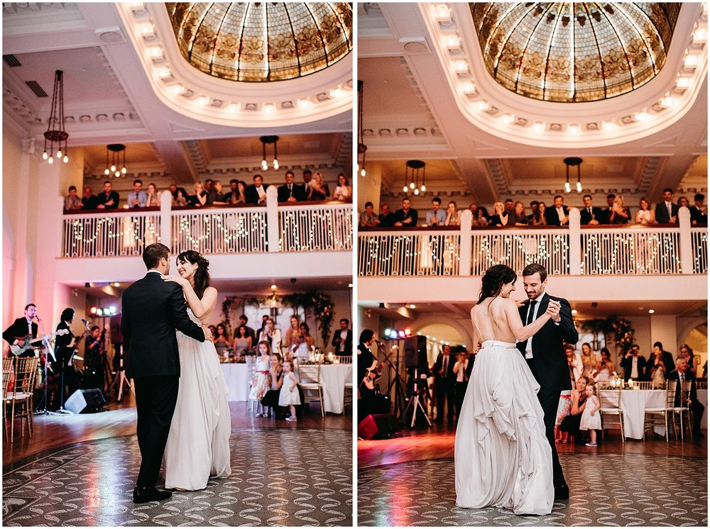 first dance photos at the permanent downtown urban wedding reception