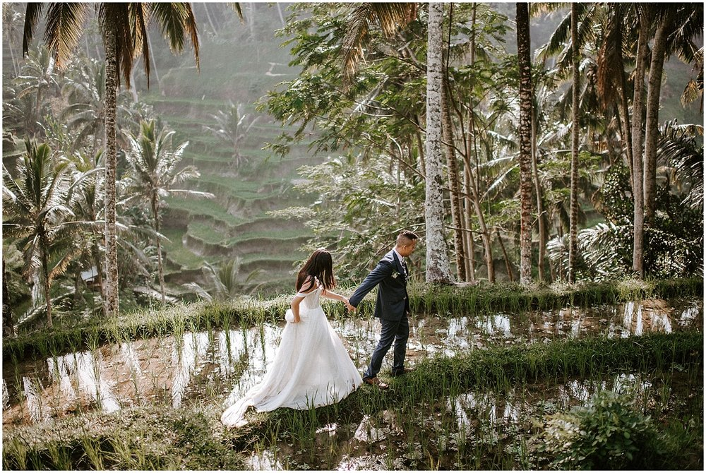 canadian couple elopement at Tegallalang Rice Terraces in ubud Bali