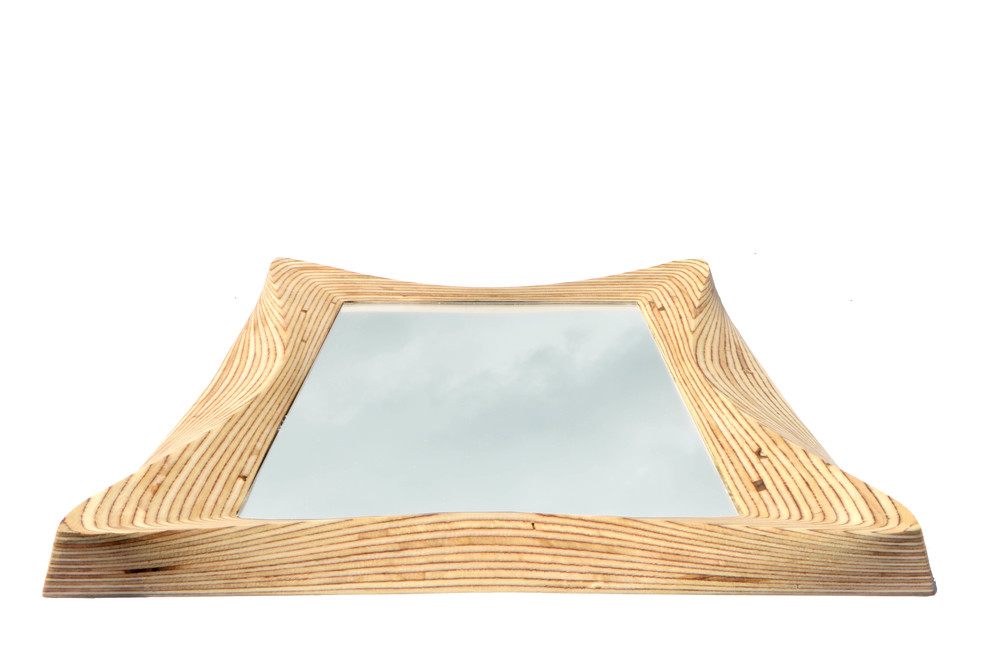 Wooden wall hanging mirror