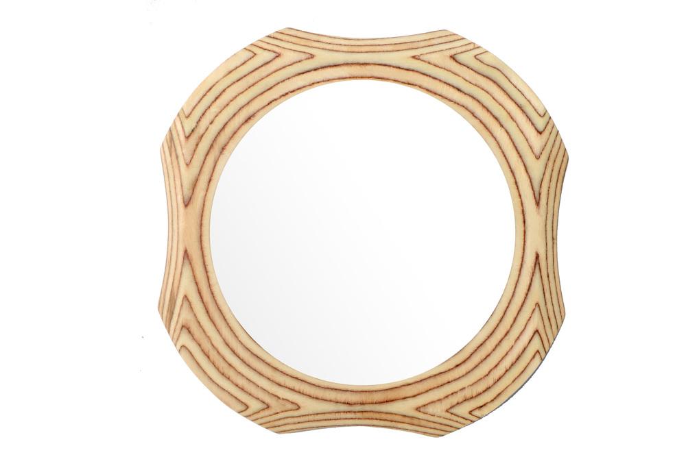 Funky round wooden mirror frame