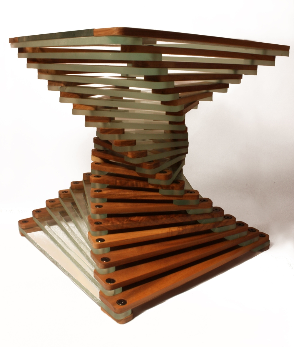 Glass and walnut coffee table fibonacci style