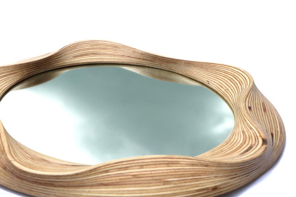 Contemporary round wooden mirror frame