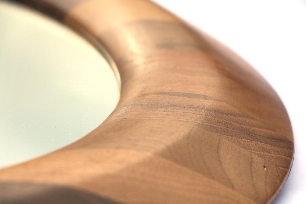 Orbis Walnut mirror, round wooden mirror by SurreyWoodsmiths