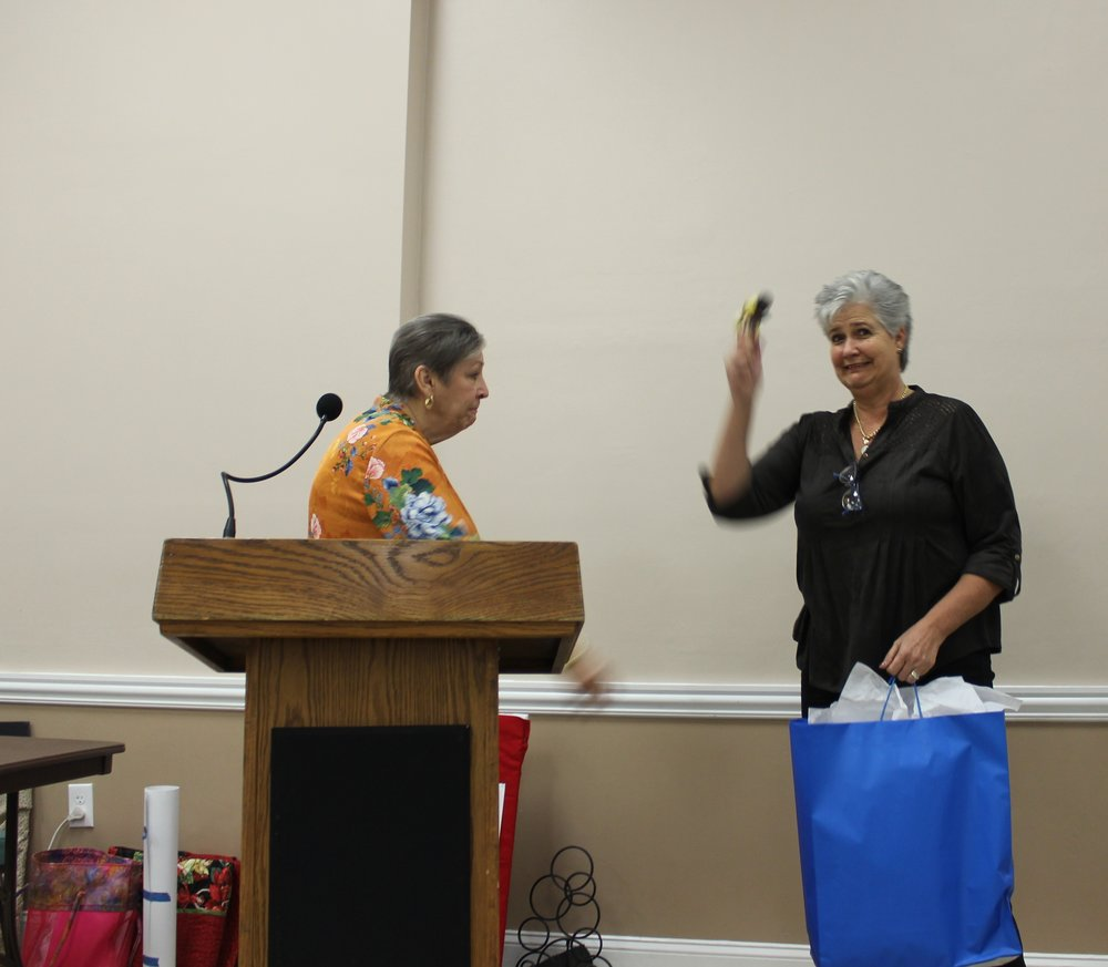 President Ilona Farnes accepting the gavel.JPG