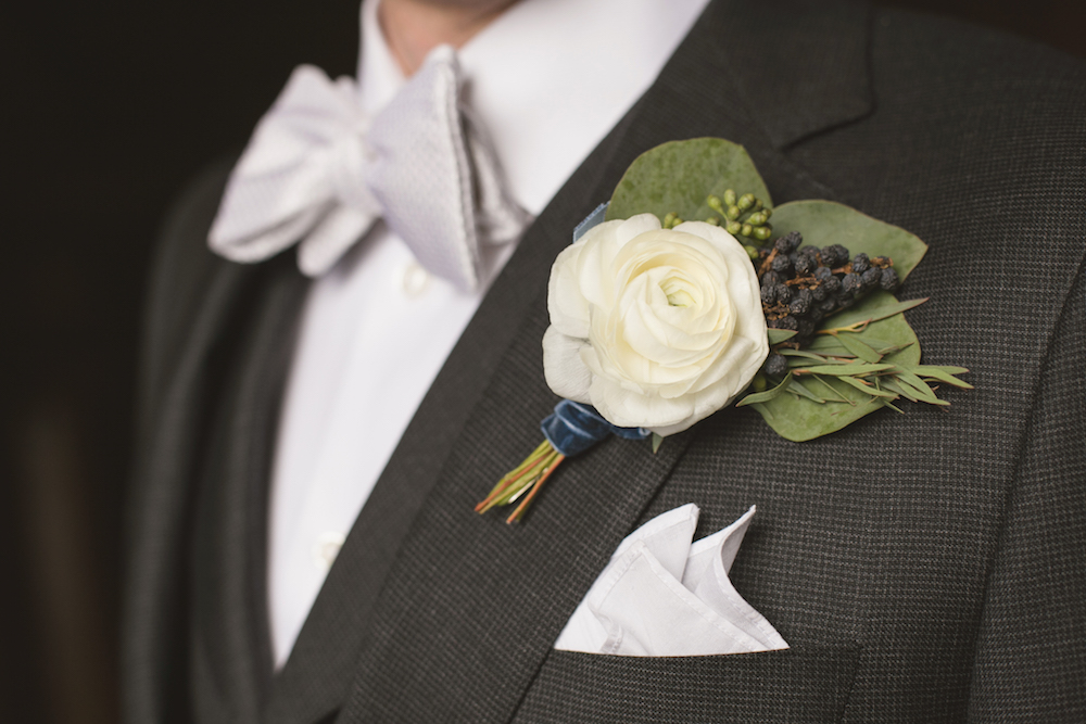White Ranunculus Boutonniere - Winnipeg Weddings