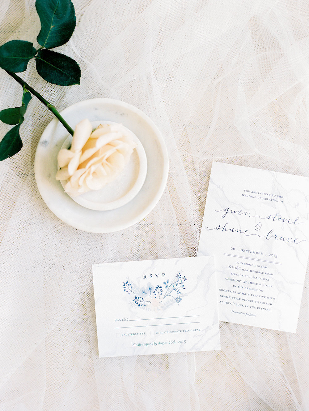 Marble Wedding Invitations - Winnipeg Wedding Florist