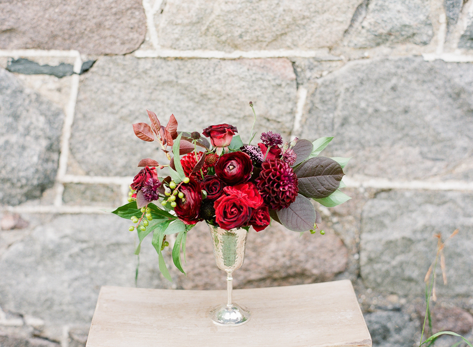 Red Floral Centrepiece - Winnipeg Wedding Florists