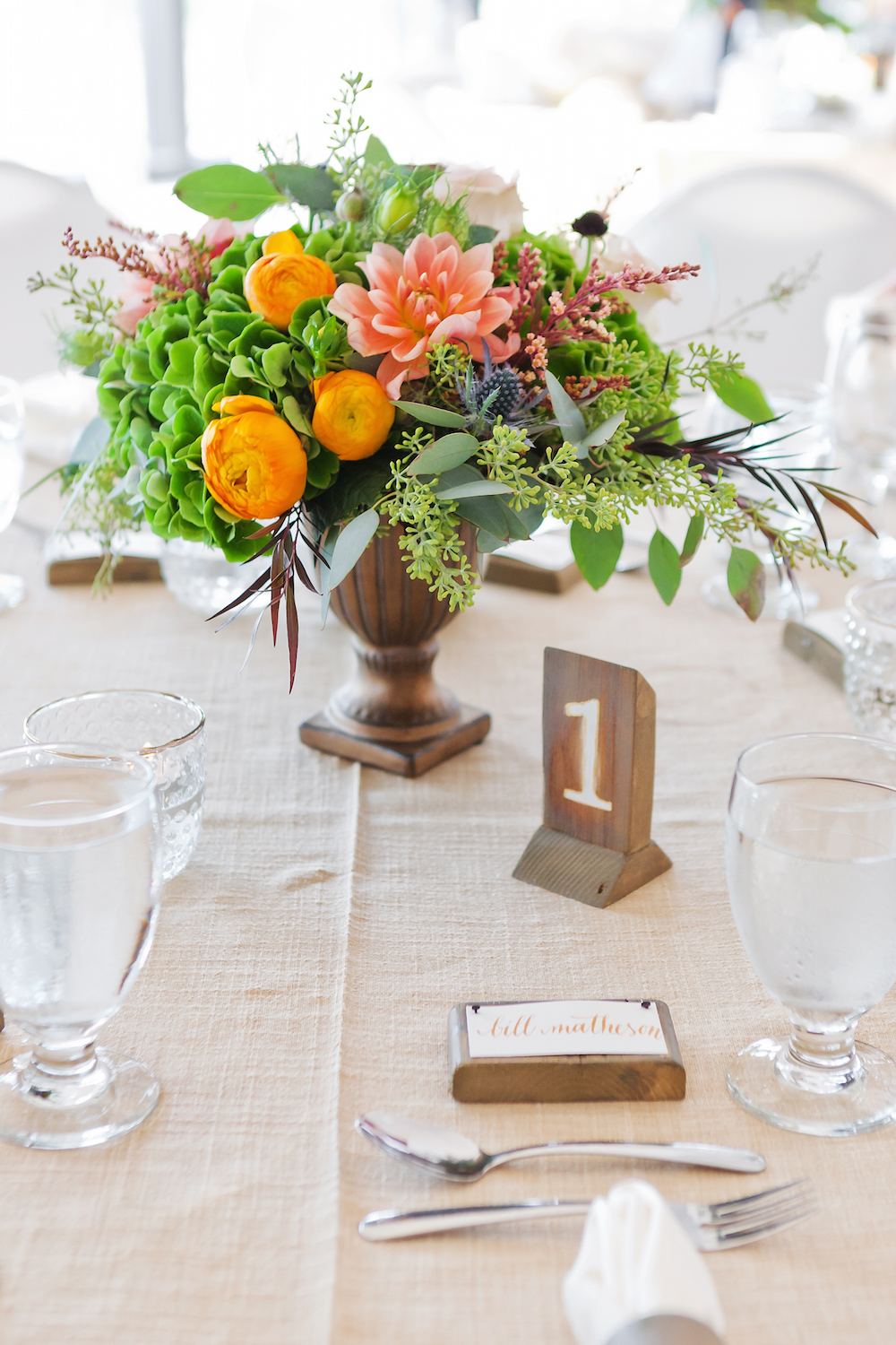 Peach and orange Wedding Flowers - Wedding Centrepiece Ideas