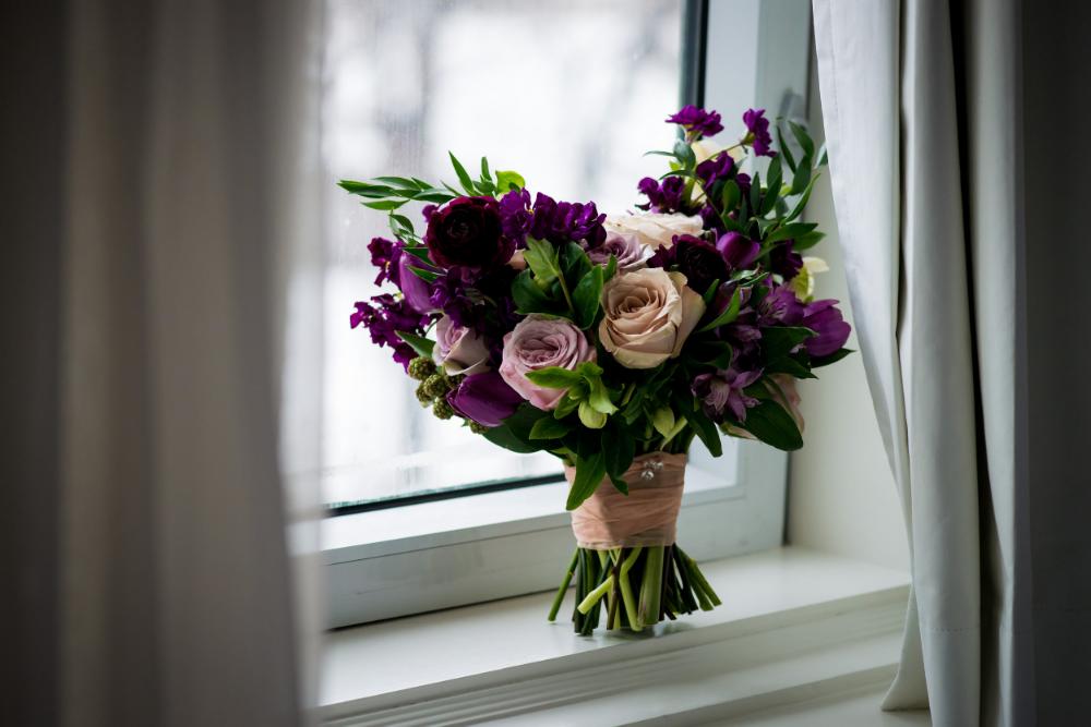 Garden Inspired Wedding Bouquet - purple wedding flowers by Stone House Creative