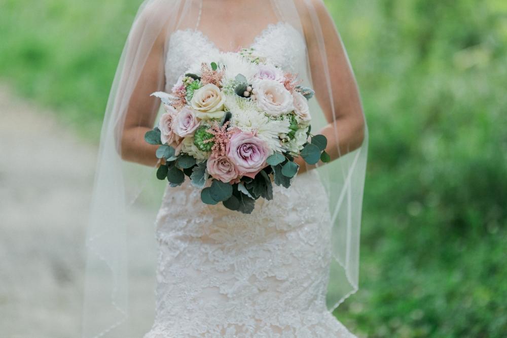 pink and white wedding flowers - winnipeg florist