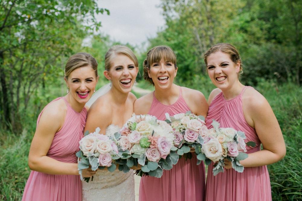 coral bridesmaid dresses - winnipeg wedding florist