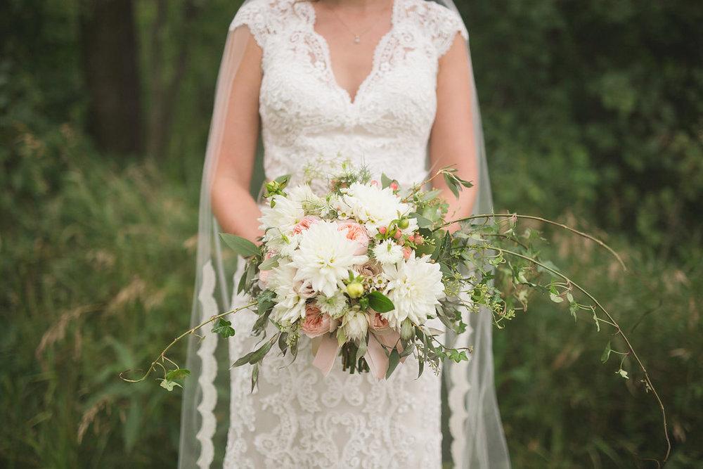 Blush and White Bridal Bouquet - Summer Wedding Flowers