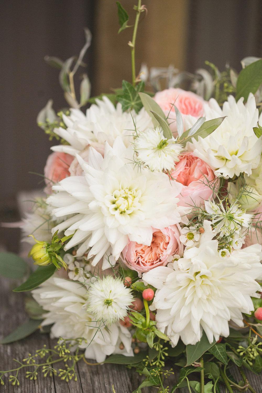 White Dahlia Bridal Bouquet - Winnipeg Wedding Florist
