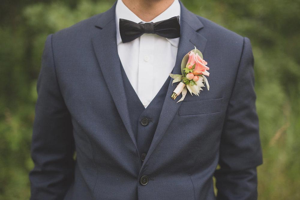 Peach Wedding Flowers - Boutonniere Ideas
