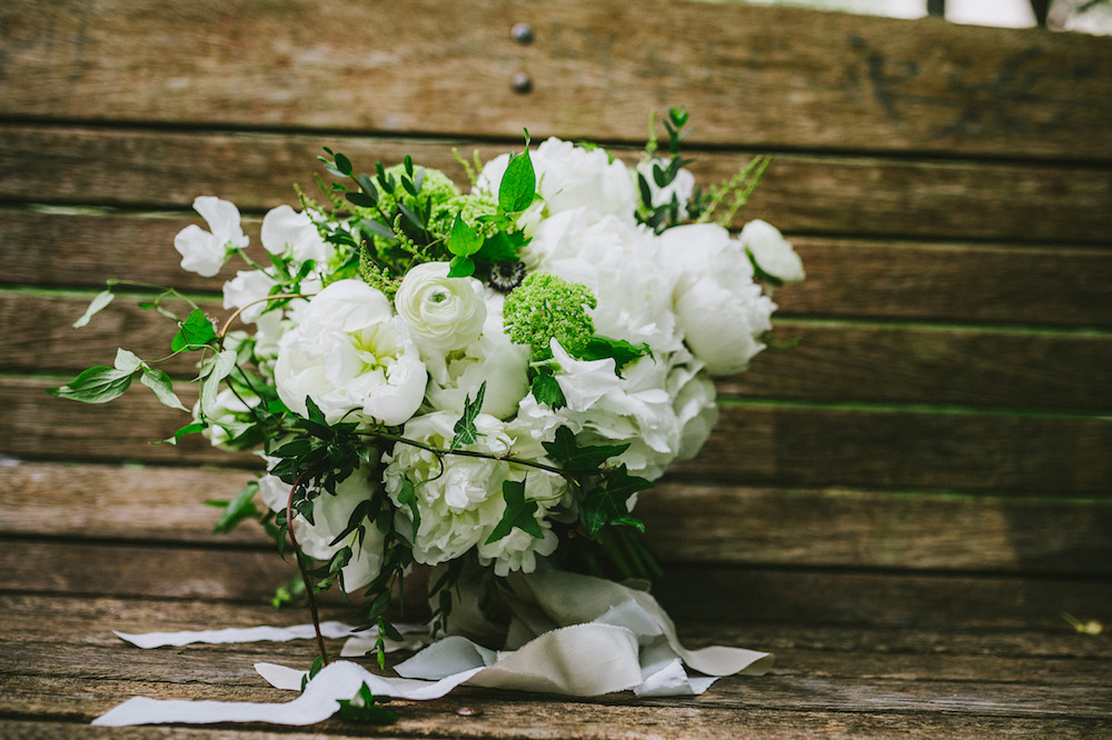 White Peony Bridal Bouquet - Spring Wedding Flowers