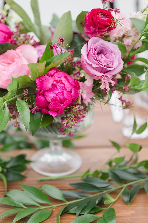 Pink Wedding centrepiece - Stone House Creative