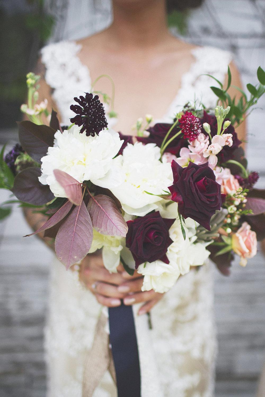 Burgundy Wedding Flowers - Stone House Creative
